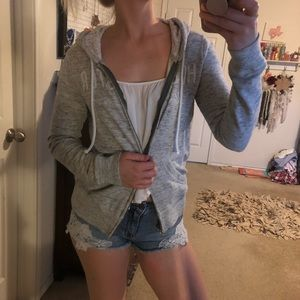 Hollister Light grey hoodie with lace
